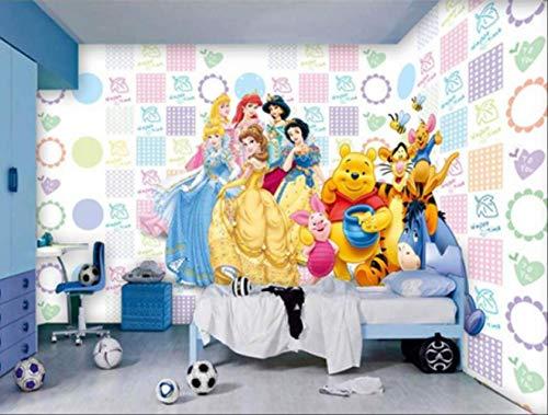 FangXUEPING aangepaste grootte 3D muurschildering behang woonkamer kinderen kamer cartoon prinses Pooh afbeelding bank tv achtergrond muurschildering behang sticker Breite 400cm * Höhe280cm Pro