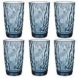 Bormioli Rocco 350260 Diamond Ocean Blue Longdrinkglas, 470 ml, Glas, blau, 6 Stück