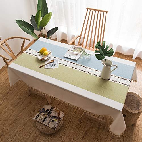 WEIFENG wasserdichte japanische Baumwolle und Leinen kleine frische Tischdecke literarischen runden Tisch Couchtisch Esstisch Tuch rechteckige Tischdecke Blaugrün 100 * 140