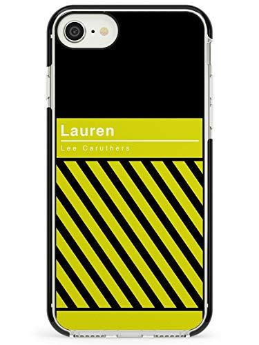 Case Warehouse Personalizado Rayado Diagonal: Amarillo/Negro Black Impact Funda para iPhone 7/8 / SE TPU Protector Ligero Phone Protectora con Personalizado