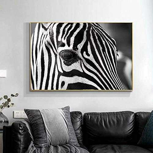 IGNIUBI Black and White Zebra Head Wall Art Posters and Prints Animal Art Picture Canvas Painting for Living Room Home Decor 60X80cm 24x32 inch No Frame