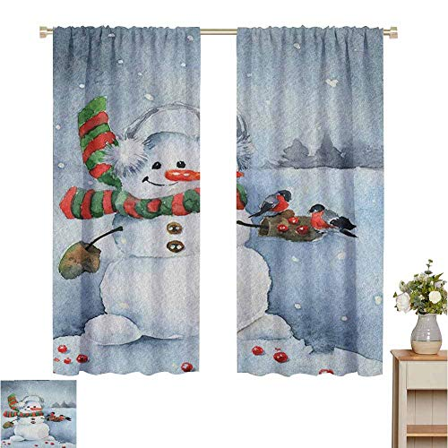 Wear Pole Curtains Bedroom Insulation Curtain Watercolor Style Snowfall Outdoors Merry Christmas Theme Winter Bullfinch Birds Multicolor Wedding Party Decorations Set of 2 Panels W72 x L84