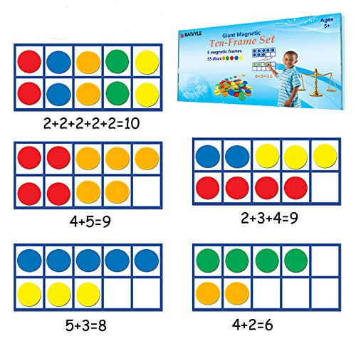 BAIVYLE Giant Magnetic Ten -Frame Set - 5 Ten Frames and 55 Magnetic Math Counters, Math Manipulatives Counting Cubes for Kids, Classroom Toys for Kindergarten Learning Materials Homeschool Supplies