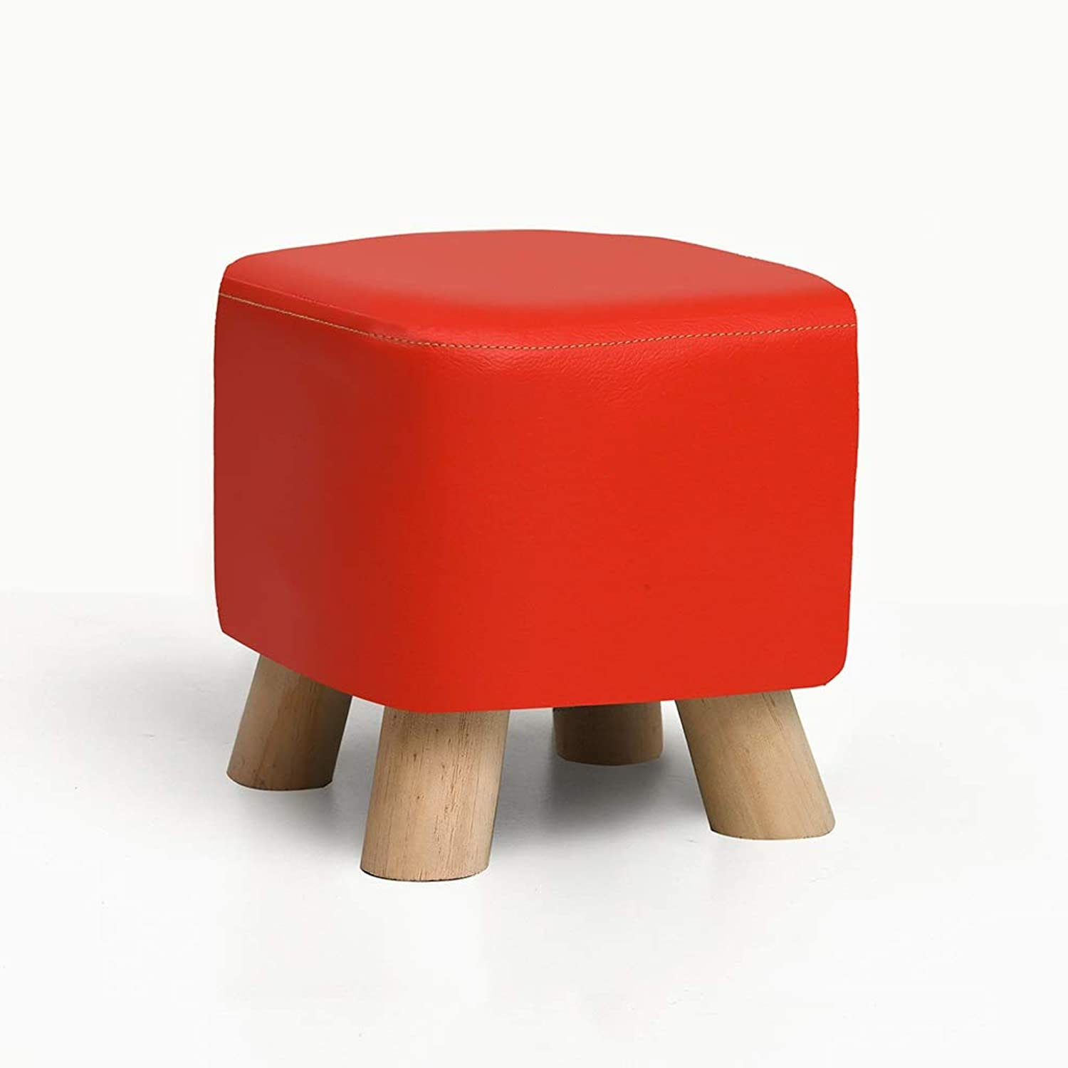 QARYYQ Solid Wood shoes Bench Fashion shoes Stool Creative Square Stool Fabric Stool Stool Sofa Stool Coffee Table Bench Home Stool Small Stool (color   RED)