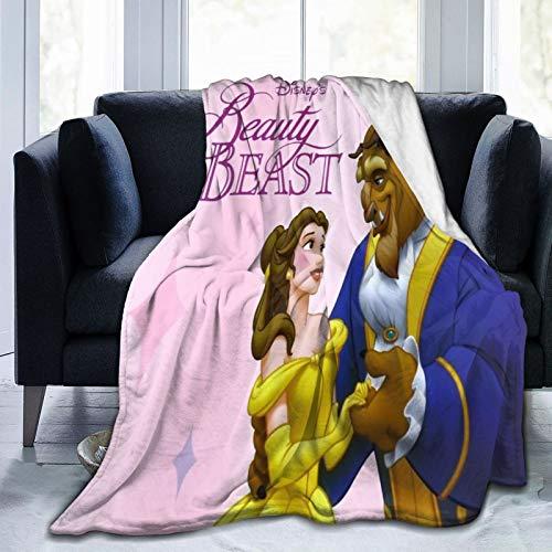 Manta de punto de Disney de la Bella y la Bestia, hecha a mano, gigante, suave, gruesa, supersuave, para sofá cama