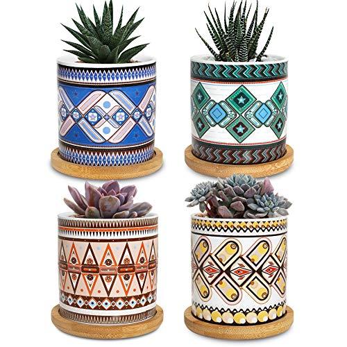 pots de plantes succulentes, cache-pots de 7,5 cm pour plantes d'intérieur pot de fleurs succulent pot de fleurs petits pots de fleurs ensemble de 4 avec bol en bambou