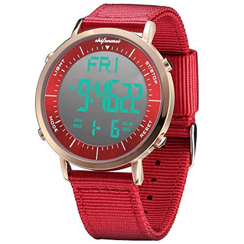 Shifenmei Digitale Uhren Sportuhr Einfarbiges Design Wasserdicht Wochentagsanzeige Nylon Armband Multifunktionen inkl. Wecker, Stoppuhr, LED beleuchtet mit Geschenkbox