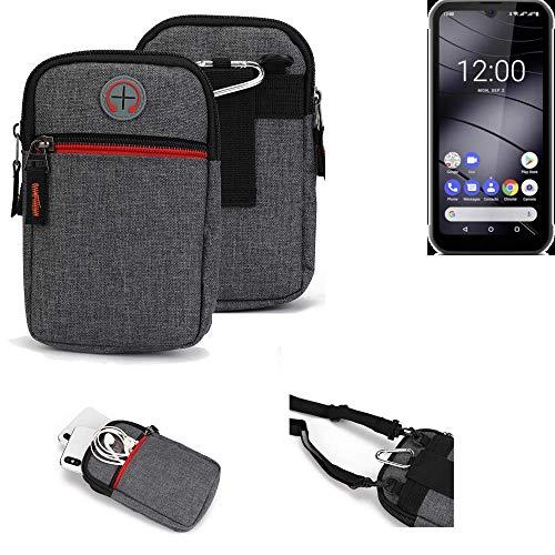 K-S-Trade® Gürtel-Tasche Für Gigaset GX290 Handy-Tasche Schutz-hülle Grau Zusatzfächer 1x