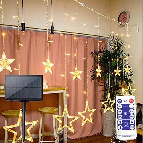 Solar Star Mond Vorhanglichter 3,5M LED-Lichterketten mit Fernbedienung 8 Modi Fenstervorhang-Lichterketten für Weihnachts Dekorationen im Innenbereich (Warmweiß-Star)