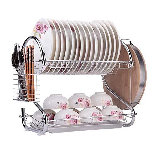 Drain Rack met snijplank Holder 2 Tier grote capaciteit RVS afdruiprek Droogrek geschikt for Home and Kitchen bowl rack
