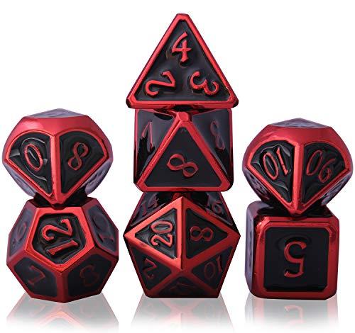 Schleuder Dados de rol DND Dice Set Metal D&D, 7 Piezas Dungeons and Dragons Poliedricos Juego de Dados rol para RPG Dados Gaming D&D Enseñanza de Matemáticas (Dragon - Red & Black)