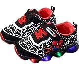 Zapatillas deportivas luminosas para niños y niños con diseño de telaraña con cordones ligeros y antideslizantes, con luz LED, para caminar, color Negro, talla 24 EU