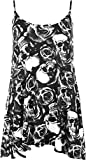 WearAll New Womens Plus Size Strappy Skull Rose Print Camisole Vest Ladies Top 12 - Black White...