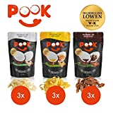 POOK Kokosnuss-Chips Try me 9er-Set (9 x 40 g), Chocolate, Mango, Original, vegan |...