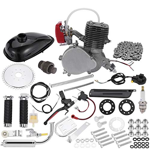 """Full Set 100CC Bicycle Engine Kit, Motorized Bike 2-Stroke, Petrol Gas Engine Kit, Super Fuel-efficient for 24"""",26"""" or 28"""" Bicycle (Silver)"""