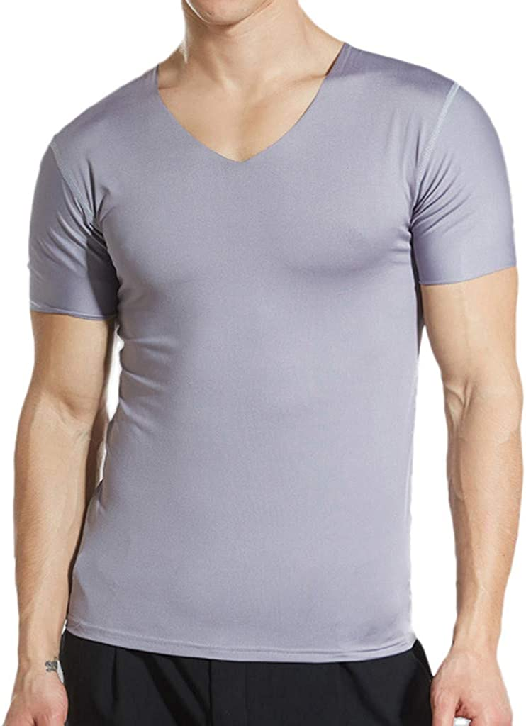 Men's Breathable T-Shirt Short Sleeve Ice Silk Quick Dry Round Neck Undershirts Top