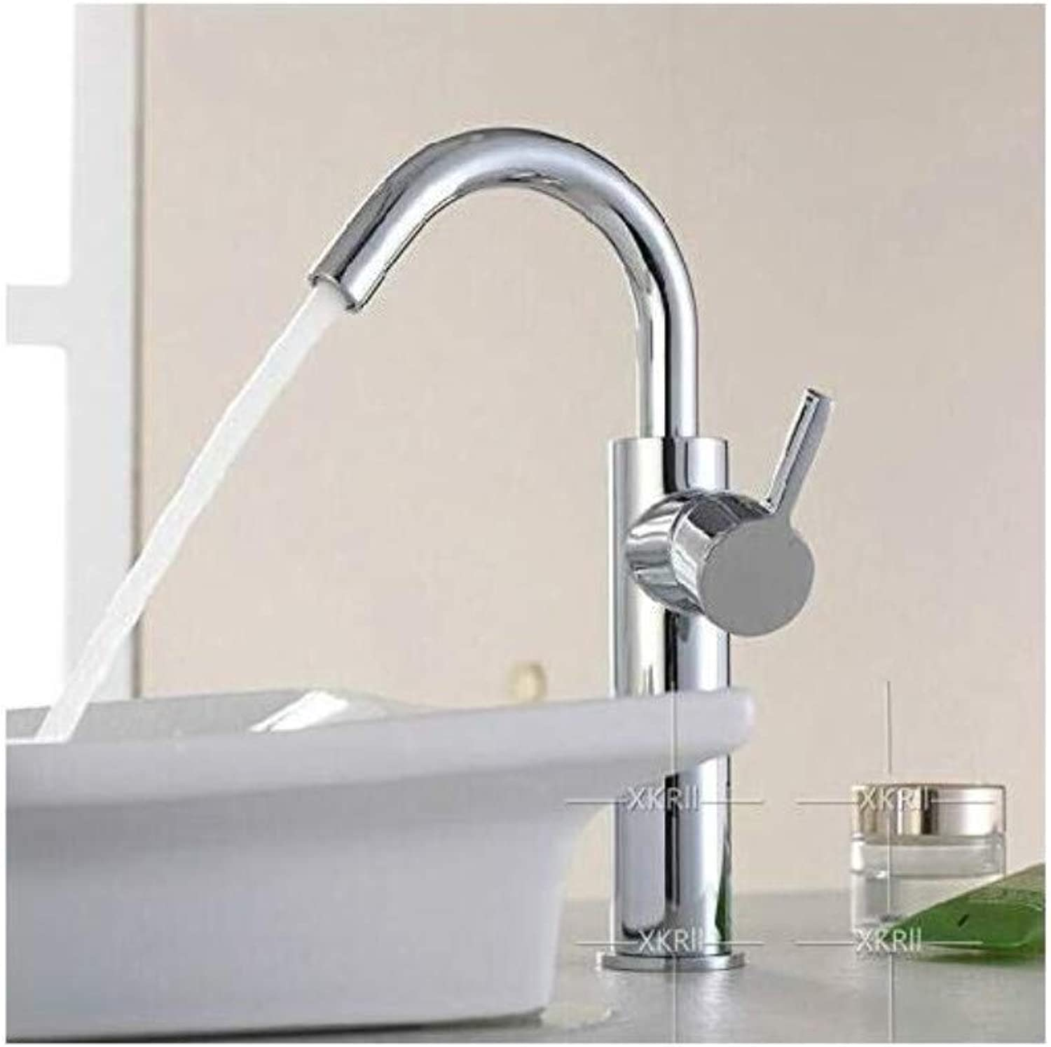 Modern Plated Kitchen Bathroom Faucet Taps Hot and Cold Basin Heightening Single Hole Faucet Bathroom Wash Basin Sink Faucet