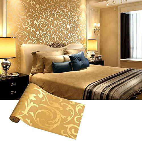 MorNon 10M 53CM Papel Pintado Dorado Papel Tapiz de Decoración de la Habitación Fondo de Pantalla 3D Papel Pintado Estampado para Decoración de Techo Pared Dormitorio Sala de Estar