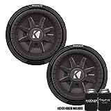 Kicker 43CWRT102 10' Dual Voice Coil 2 ohm Slim line Truck woofers Bundle