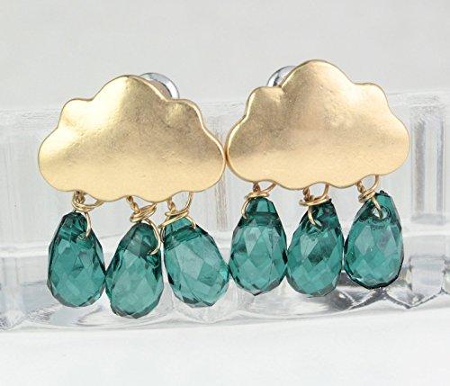 Ohrringe |Ohrstecker | Wolken | vergoldet | Grüne Tropfenkristalle | Farbe: Gold