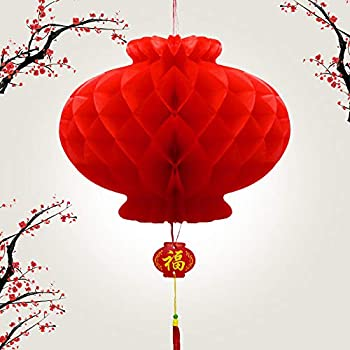 14 Pcs Paper Red Lantern,Chinese New Year Decoration,Red Envelopes Hong Bao Red Felt Lucky Character Chinese Fu Character Paper Window  Lantern