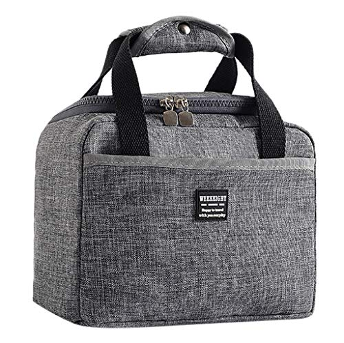 Mikilon Lunch Bag - Insulated Lunch Tote for Work and School with Main Compartments, Zipper Front Pocket - Fits All Lunch Boxes and Other Containers (Gray)