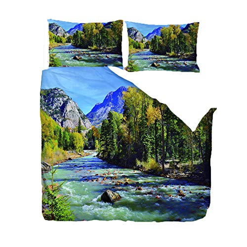 Single Duvet Cover Set 200 X 200 Cm/78.5X78.5 Inches -River In The Forest- Easy Care And Microfiber Bedding With Zipper Closure Includes Pillow Cases Thermal Warm Cosy Super Soft