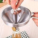 Sykasm Edelstahl-Trichter mit Filtergriff, Trichter zum Übertragen von flüssigen Zutaten, Küchenzubehör Silber 15cm