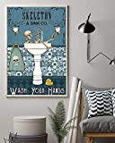 Skeleton and Sink Co Wash Your Hands The White Poster Vintage Retro Poster, Wall Art Print, Decor Home (12''x18'', 16''x24'' and 24''x36'')