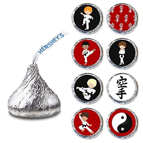 Adorebynat Party Decorations Karate Label für Hershey 'Kisses® Pralinen (zugunsten der Martial Bonbons Party) - Set von240
