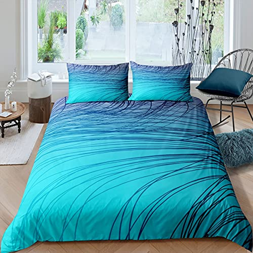 Set di biancheria da letto per letto singolo, motivo astratto, 2 pezzi, per ragazzi, corde psichedeliche per ragazzi, adulti e ragazze, morbido copriletto