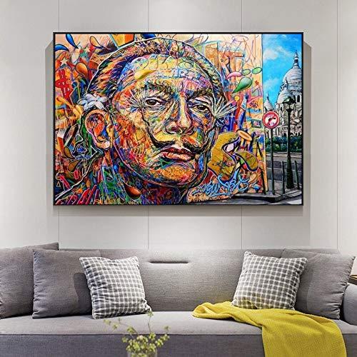 SAIDE Retrato Abstracto Pintura al óleo sobre Lienzo, Cartel de Arte de Pared de Calle y Pintura de decoración de Sala de Estar del hogar 50x70 cm sin Marco