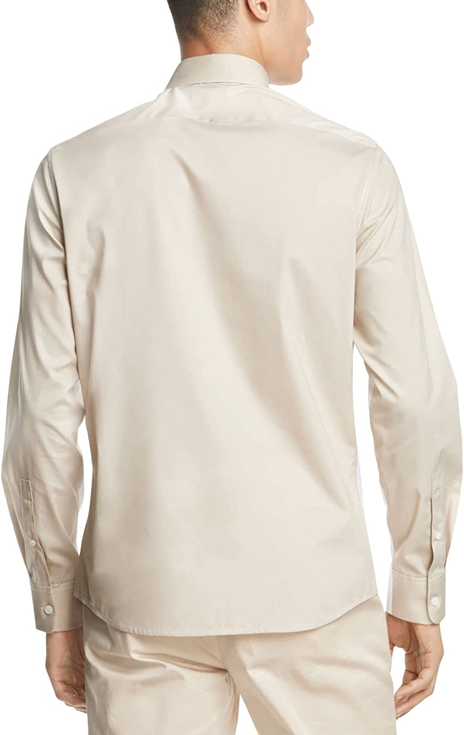 DKNY Mens White Color Block Collared Dress Shirt M
