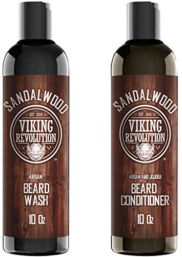 Beard Wash & Beard Conditioner Set w/Argan & Jojoba Oils - Softens & Strengthens - Natural Sandalwood Scent - Beard Shampoo w/Beard Oil (10oz)
