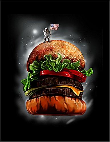 【ハンバーガー 宇宙飛行士】 余白部分にオリジナルメッセージお入れします!ポストカード・はがき(黒背景)