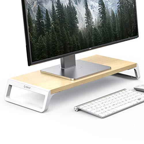 Elevador de Monitor PC, ORICO Soporte ergonómico, Elevador para Monitor de Ordenador, Elevador de Pantalla de Ordenador de Madera y aleación de Aluminio, Naturaleza (56x21.1x7.5cm, Soporta 15Kg)