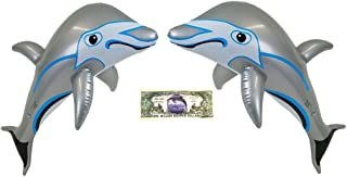 Imprints Plus 2 Inflatable Gray Dolphins Pool and Beach Toys Bundle and 1 Non-Negotiable Million Dollar Bill (103)
