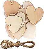 Wohlstand 50 Pezzi Cuori in Legno,8x8cm Naturale Incompiuto Amore Abbellimenti con Naturale Spago per Matrimonio Fai da Te Arte Craft Card Making Decorazione di San Valentino