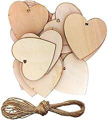 Idea Regalo - Wohlstand 50 Pezzi Cuori in Legno,8x8cm Naturale Incompiuto Amore Abbellimenti con Naturale Spago per Matrimonio Fai da Te Arte Craft Card Making Decorazione di San Valentino