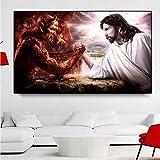 HANDADA Lienzo Interior Pintura al óleo Cartel de Pintura de Lienzo Anime/Concurso de Dios y el Diablo Lienzo Cristiano y Pintura Religiosa/Decoración del hogar Lienzo Dormitorio Pintura