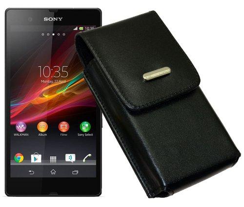 Trendcell Schutzhülle für Sony Xperia Z1Compact, Xperia Z3Compact, Xperia Z, vertikal, Leder, mit Gürtelschlaufe auf der Rückseite Sony Xperia Z1 Compact Schwarz