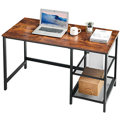 YMYNY Industrial Computer Desk, 47 Inch Large Study Writing Table with 2 Storage Shelves, Home Office PC Laptop Notebook Desk with Bookshelf, Easy Assembly, Rustic Brown UHTMJ33MH