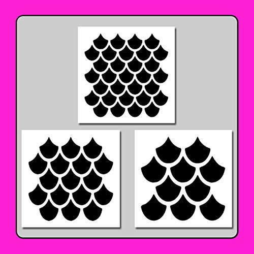 Set of 3 Seamless Fish/Mermaid Scales Texture/Nautical Pattern Stencils Templates 6 X 6 Each