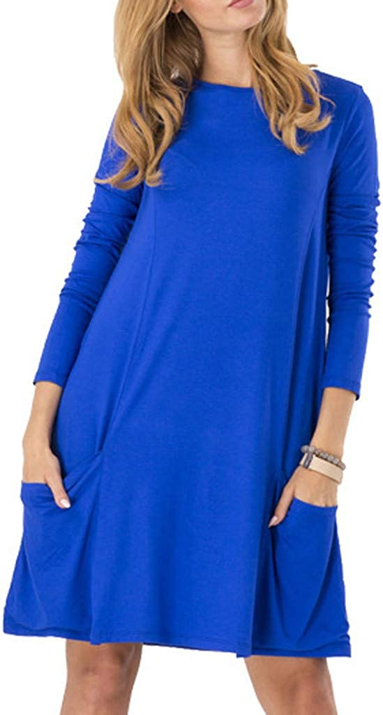 Women's Round-Necked Long-Sleeved OFFicial mail High order order Pocket Blue Solid Dress Color
