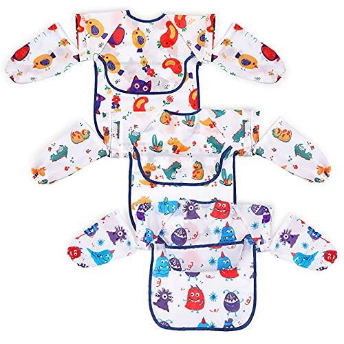 Lictin Bavaglini Neonati con Maniche Staccabili - 3 Pezzi Bavaglino Alimentazione per Bambini da 0 a 24 mesi, Bavette Svezzamento con Progettazione a Ribaltamento, Grembiule Neonati Unisex