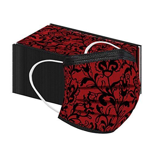 50 Stück Grau Spitze Druck Einmal-Mundschutz 3-lagiger Erwachsene Atmungsaktiv Staubs-chutz Mundbedeckung für Täglicher Gebrauch (Rot 1)