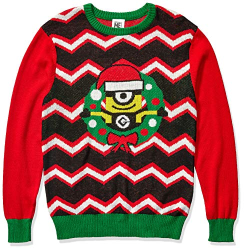 Despicable Me Men's Minion Wreath Sweater, Red, Large