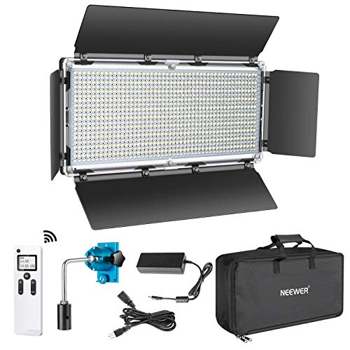 Neewer Advanced 2.4G 960 LED Video Light with Barndoor, Dimmable Bi-Color LED Panel with LCD Screen and 2.4G Wireless Remote for Portrait Product Photography, Studio Video Shooting