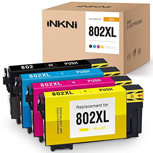 INKNI Remanufactured Ink Cartridge Replacement for Epson 802 802XL T802XL for Workforce Pro WF-4730 WF-4734 WF-4740 WF-4720 EC-4020 EC-4030 EC-4040 Printer Ink (Black, Cyan, Magenta, Yellow, 4-Pack) -  Plenty Talent (NON EPSON ), EPSON-802XL-4P