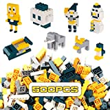 Reenwee Building Bricks 500 Pieces Set ,Classic Colors Building Blocks Toys,Compatible with All Major Brands,Birthday Gift for Kids (Yellow-Green)